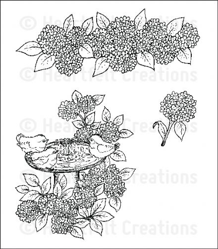HCPC 3647 ~ HYDRANGEA BIRD BATH  PreCut Set ~ Birds & Blooms Collection ~  Heartfelt Creations